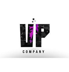 Purple black alphabet letter vp v p logo vector
