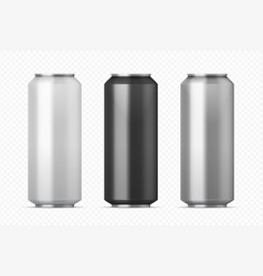 realistic metal cans aluminum beer and lemonade vector image
