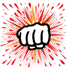 Red and yellow cartoon splash fist punch vector