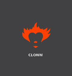 red clown hair nose and lips abstract sign vector image
