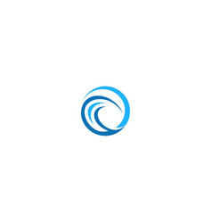 round abstract wave ocean logo vector image
