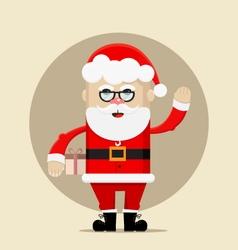 santa claus holding gift and waving vector image