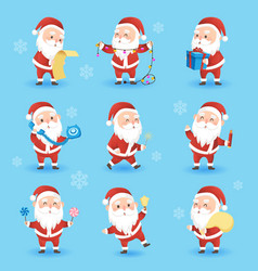 set festive christmas icons with funny santa vector image