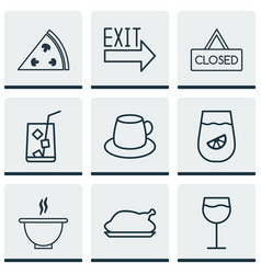 Set of 9 eating icons includes closed placard vector