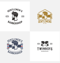 set of barber shop logo design template vector image