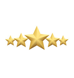 set realistic metallic golden star isolated on vector image