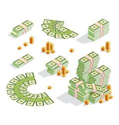set stack banknotes golden coins money fan vector image