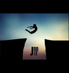 silhouette of a jumping man vector image