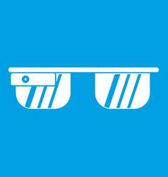 Smart glasses icon white vector
