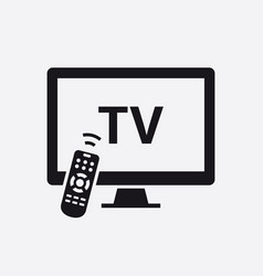 smart tv with remote control icon vector image
