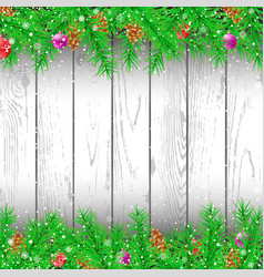 spruce branch white wood background vector image