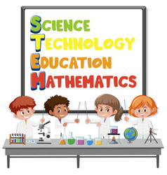 stem education logo with kids wearing scientist vector image