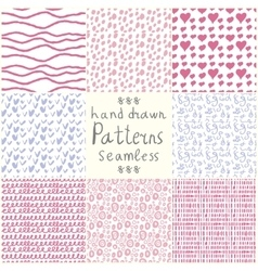 Stock hand drawn seamless patterns vector