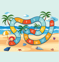 Summer beach board game template vector