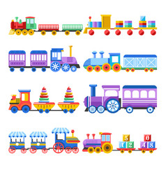 Toy train with kid toys flat icons vector