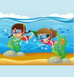 Two girls diving under the sea vector