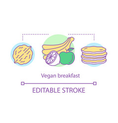 vegan breakfast vegetarian nutrition concept icon vector image