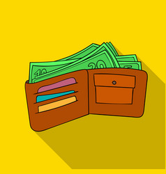wallet with cash icon in flate style isolated on vector image