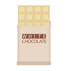 white chocolate bar isolated on white background vector image