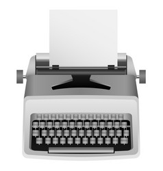 White typewriter mockup realistic style vector