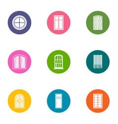window aperture icons set flat style vector image