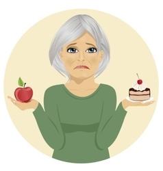 Woman choosing between cake and apple vector