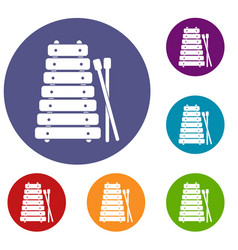 Xylophone and sticks icons set vector