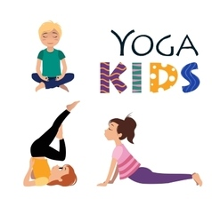 Yoga kids asanas poses vector
