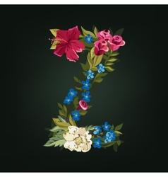 Z letter Flower capital alphabet Colorful font vector