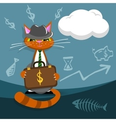 cat businessman with briefcase making a vector image
