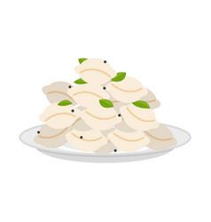 Dumplings in plate isolated pelmeni in dish vector
