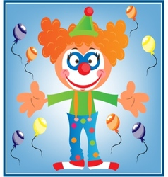 Greeting card with clown vector image vector image