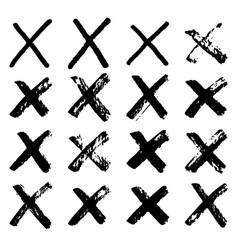 grunge hand drawing crosses isolated on white vector image