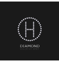 H letter with diamonds vector image