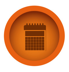 orange circular frame with silhouette calendar vector image