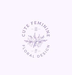 cute feminine sign symbol or logo template vector image vector image