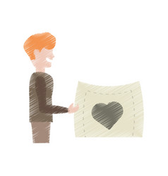 drawing man holding card heart lovely vector image vector image