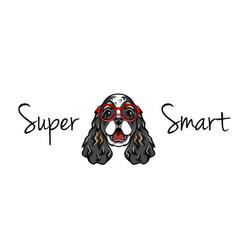 english cocker spaniel in smart glasses geek vector image vector image