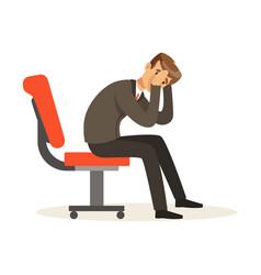 Unfortunate businessman dissatisfied with his work vector
