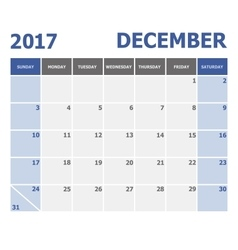 2017 December calendar week starts on Sunday vector image vector image