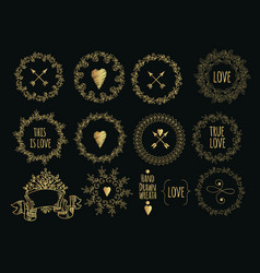 collection of handdrawn gold laurels and wreaths vector image vector image