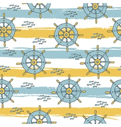 pattern with anchor and fish stripes vector image vector image
