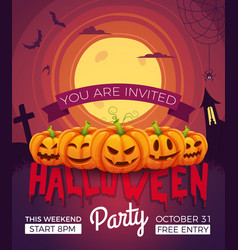 poster invitation for halloween party vector image vector image