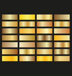set of gold gradients on black background shiny vector image