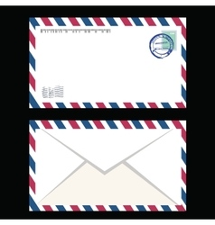 Air mail envelope with postal stamp isolated vector image