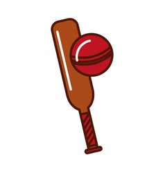 Brightly cricket ball and bat cartoon vector