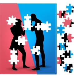 Couple argue fight boxing vector image