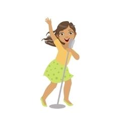 Girl In Green Skirt Singing In Karaoke vector image vector image