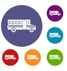 school bus icons set vector image vector image