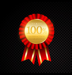 100 percent satisfaction guaranteed golden vector image